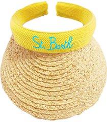 woman straw visor cap yellow