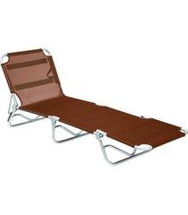 cadeira espreguiçadeira textiline aluminio marrom belfix - tricae