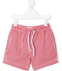 emile et ida drawstring striped swim shorts - red