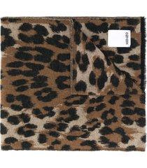 kenzo leopard print wool blend scarf - brown