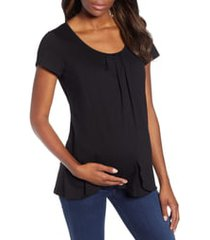 angel maternity petal front maternity shirt, size 3x-large in black at nordstrom