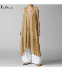 zanzea mujeres flojas ocasionales de la playa vestido larga de las señoras cuello en v kaftan maxi vestidos de suéter (no incluye el blanco slip vestido) -amarillo