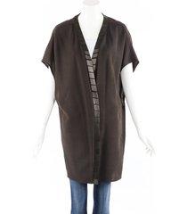 rick owens brown beaded wool open front cardigan brown sz: l