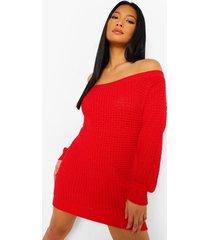 petite wafel gebreide sweatshirt jurk met open schouders, red