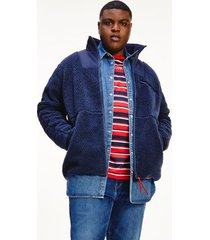tommy hilfiger men's big and tall recycled combo sherpa jacket twilight navy - 5xl