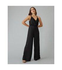 amaro feminino macacão decote drapeado e calça pantalona, preto