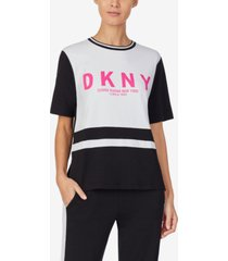 dkny loungewear short sleeve pajama top