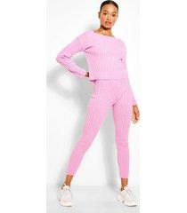 tall knit slash neck & legging lounge set, cherub pink
