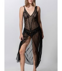 pyjama's / nachthemden luna lange babydoll passie zwart splendida
