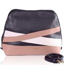 bolsa transversal campezzo couro preto com tiras