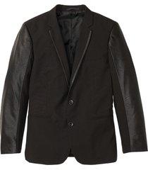 giacca elegante con dettagli in similpelle slim fit (nero) - rainbow
