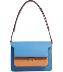 marni medium trunk colorblock leather shoulder bag - blue