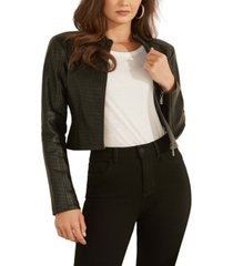 guess kat croc-embossed faux-leather jacket