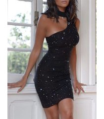 vestido sin mangas sin mangas sin espalda asimétrico con purpurina negra de yoins