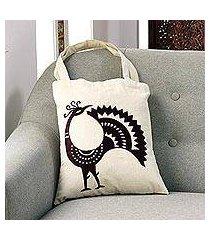 cotton shoulder bag, 'peacock pose in mahogany' (india)