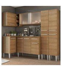 cozinha completa de canto madesa emilly self com balcão, armário vidro e paneleiro rustic rustic