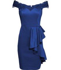 abito con spalle scoperte, pizzo e volant (blu) - bodyflirt boutique