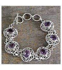 amethyst link bracelet, 'lilac dew' (india)