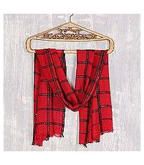viscose blend scarf, 'crimson checks' (india)