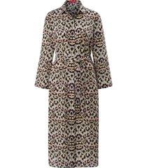 jurk 100% zijde 3/4-mouwen en print van laura biagiotti roma beige