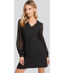 trendyol lace sleeve detail dress - black