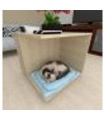 mesa de cabeceira gato com rodinhas mdf amadeirado claro