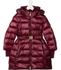 monnalisa belted padded coat - red