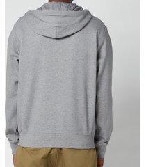 kenzo men's sport full zip hooded sweatshirt - dove grey - l