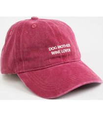 dog mother wine lover baseball hat - burgundy