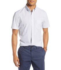 men's 1901 pinstripe seersucker slim fit sport shirt, size xxx-large - blue
