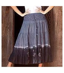 cotton batik skirt, 'grey boho chic' (thailand)