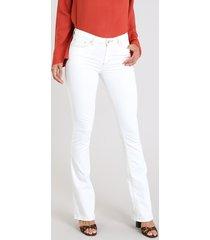 calça de sarja feminina flare off white