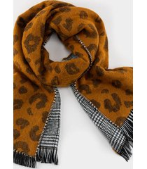 analese leopard plaid scarf - brown