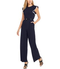 calvin klein tipped ruffle-shoulder jumpsuit