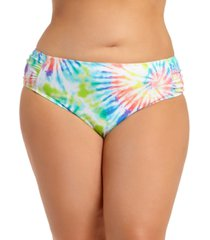 california waves trendy plus size tie-dye ruched-side bikini bottoms, created for macy's women's swimsuit