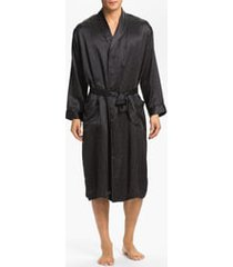 men's majestic international dot silk robe, size small/medium - black