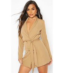 petite striped double breasted belted blazer dress, brown