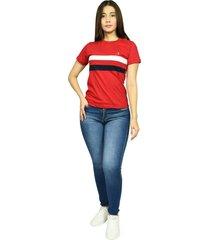 camiseta cuello redondo smith rojo malboro para mujer