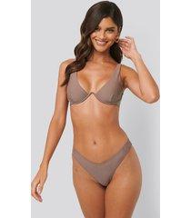 na-kd swimwear v-formad bikiniunderdel - brown