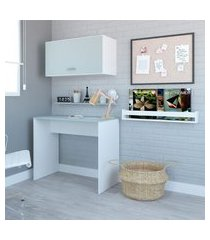 escrivaninha com armário aéreo e nicho patt branco e cinza cristal