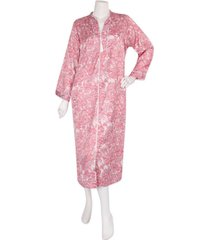 miss elaine woven long satin zipper robe