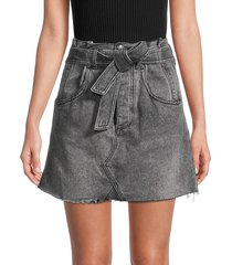 free people women's east of eden paperbag mini denim skirt - washed black - size 25 (2)