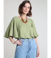 blusa feminina blusê manga ampla decote redondo verde