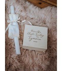 biała świeca do chrztu z profitką vintage