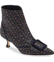 women's manolo blahnik baylow floral pointed toe bootie, size 9.5us - blue
