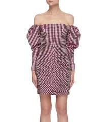 off shoulder puff sleeve check mini dress
