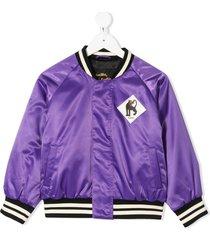 mini rodini panther-badge bomber jacket - purple