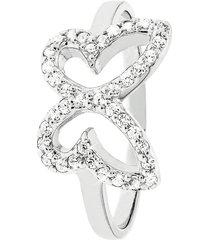 anello farfalla in argento 925 rodiato e zirconi per donna