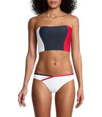 tommy hilfiger women's colorblock longline bandeau bikini top - sky captain - size xxl