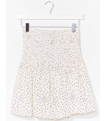 womens if you've dot it flaunt it spotty shirred skirt - white
